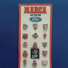Coleccionismo deportivo: COLECCION COMPLETA DE PINS LIGA FUTBOL 99 00 1999 2000 FORD LFP DIARIO MARCA 20 PIN COMPLETO. Lote 54844923