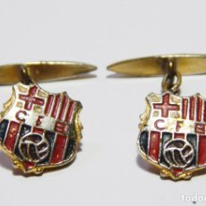 Coleccionismo deportivo: ANTIGUOS GEMELOS FUTBOL CLUB F.C BARCELONA FC BARÇA CF SIGLAS C.F.B RAROS!. Lote 82899168