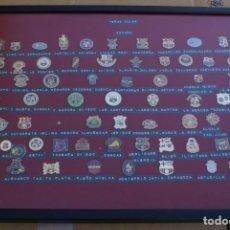 Coleccionismo deportivo: CUADRO CON 66 PINS DISTINTOS DE PEÑAS DEL FUTBOL CLUB BARCELONA (FOOTBALL) BARÇA. Lote 110366759