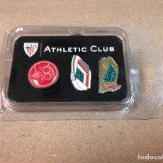 Coleccionismo deportivo: 3 PINS CONMEMORATIVOS CENTENARIO DE SAN MAMÉS. OFICIALES ATHLETIC CLUB.. Lote 118562616