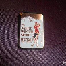 Coleccionismo deportivo: SKY ANTIGUA INSIGNIA 75 JAHRE WINTER SPOT WENGEN 1910 /11 - 1985 /86 - 3,5X2,3 CM. . Lote 157071514