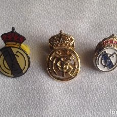 Coleccionismo deportivo: REAL MADRID C.F. : LOTE 3 PINS INSIGNIAS ESCUDOS REAL MADRID. Lote 159409594