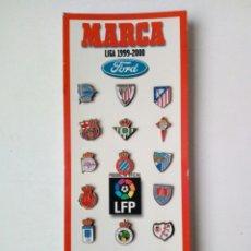 Coleccionismo deportivo: LOTE DE MARCA DE 20 PIN INSIGNIAS TEMPORADA 1999-2000 - LIGA ESPAÑOLA FÚTBOL. Lote 174149130