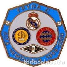 Coleccionismo deportivo: BADGE PIN: UEFA CHAMPIONS LEAGUE 1999-00 GROUP С - REAL MADRID, DYNAMO KYEV, BAYERN, ROSENBORG. Lote 206923325
