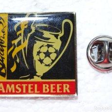 Coleccionismo deportivo: PIN DE DEPORTES. FÚTBOL. FC BARCELONA. ANFITRIÓN FINAL COPA DE EUROPA 99 1999 CAMP NOU. AMSTEL BEER. Lote 210697889