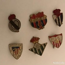 Collectionnisme sportif: LOTE 6 INSIGNIA AGUJA PINS CLUBS FUTBOL MADRID BARCELONA ATHLETIC BILBAO SEVILLA BETIS VALLADOLID. Lote 213107225