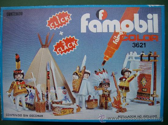 CAJA PLAYMOBIL FAMOBIL INDIOS COLOR REF 3621 (Juguetes - Playmobil)