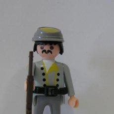 Playmobil: PLAYMOBIL FIGURA SOLDADO SUDISTA BIGOTE CONFEDERADO FUERTE OESTE WESTERN. Lote 194397996