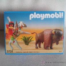 Playmobil: PLAYMOBIL 3731 CAZADOR INDIO CON BISONTE **NUEVO** DESCATALOGADO - RSG - INDIOS - OESTE. Lote 176358803