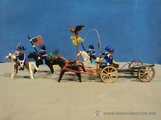 PLAYMOBIL-OESTE,CARRETA CON CAÑON,SOLDADOS NORDISTAS (Juguetes - Figuras de Acción - Playmobil)
