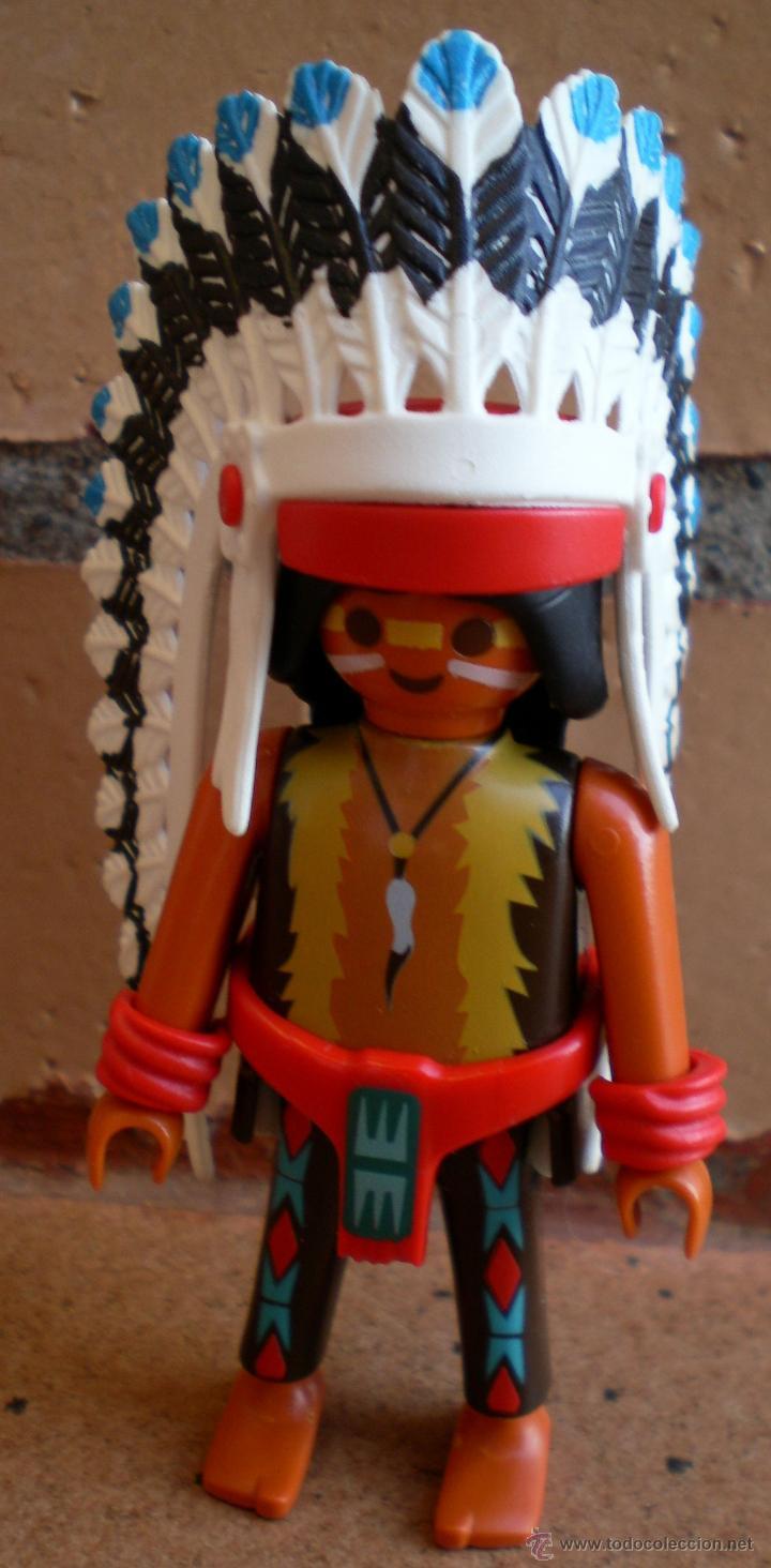 FIGURA PLAYMOBIL JEFE INDIO PLUMAS (Juguetes - Playmobil)