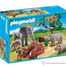 Playmobil: PLAYMOBIL CAJA ANIMALES SELVA ARBOL ELEFANTE RINOCERONTE ESCENA 5417 NUEVO EN CAJA SIN ABRIR. Lote 91796497