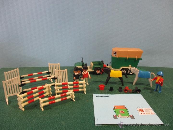 PLAYMOBIL-REF-3140-AÑO 86-JEEP CON REMOLQUE-HIPICA-COMO NUEVO,CON INSTRUCCIONES (Juguetes - Playmobil)