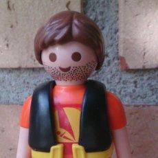Playmobil: FIGURA PLAYMOBIL CHICO CHALECO NEGRO Y BARBA BARCO DE VELA VELERO. Lote 130546092