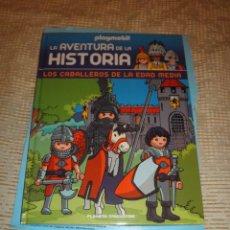 Playmobil: PLAYMOBIL LA AVENTURA DE LA HISTORIA FASCICULO 1 LOS CABALLEROS DE LA EDAD MEDIA + CABALLERO NEGRO. Lote 67959029
