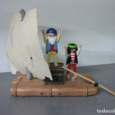 Playmobil: PLAYMOBIL BALSA TRONCOS PIRATAS NAUFRAGO BARCA NAUFRADOS TESORO ISLA. Lote 72710891