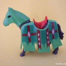 Playmobil: PLAYMOBIL CABALLO DE BATALLA O TORNEO CON BARDAS VERDES. Lote 73068847