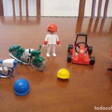 Playmobil: FAMOBIL, NO PLAYMOBIL, AÑOS 70 MOTOS Y COCHE KART CON SU PILOTO ORIGINAL REF 3208 Y REF 3575. Lote 80122733