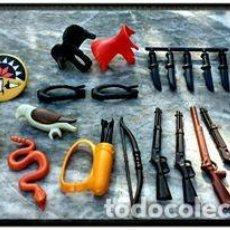 Playmobil: PLAYMOBIL LOTE OESTE INDIOS RIFLE CUCHILLO ESCUDO SERPIENTE ÁGUILA. Lote 104213798