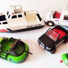 Playmobil: LOTE PLAYMOBIL COCHE BARCO AMBULANCIA AEROPUERTO AVION LANCHA TODOTERRENO VINTAGE. Lote 105604551