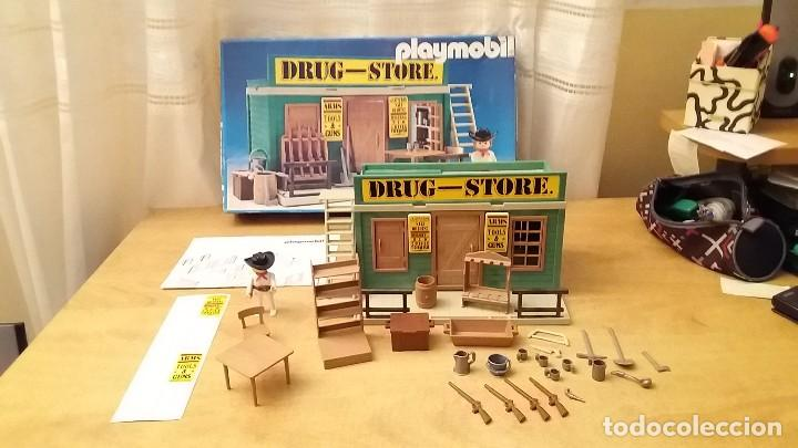 Playmobil: Playmobil 3462 (V1. Outline-Nr.). DRUG-STORE. Oeste (western). Caja e instrucciones. Muy completo - Foto 2 - 109050067