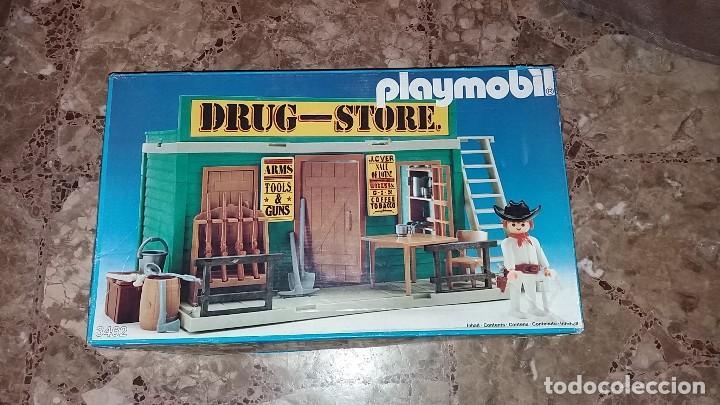 PLAYMOBIL 3462 (V1. OUTLINE-NR.). DRUG-STORE. OESTE (WESTERN). CAJA E INSTRUCCIONES. MUY COMPLETO (Juguetes - Playmobil)