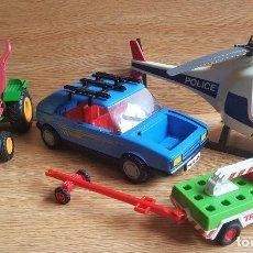 Playmobil: LOTE 4 VEHICULOS PLAYMOBIL ELICOPTERO GIGANTE CON PILOTOS Y COCHES. Lote 112715807
