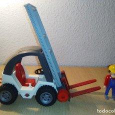 Playmobil: CARRETILLA ELEVADORA 4314 FIGURA GORRA AMARILLA AZUL BLANCO GRIS ROJO CARGO ALMACÉN COCHE 1998 . Lote 115685955