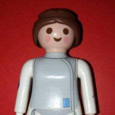 Playmobil: PLAYMOBIL 7CM BLANCO GRIS Y AZUL PELO MARRON. Lote 116391555