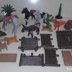 Playmobil: LOTE PLAYMOBIL OESTE CABALLO ANIMAL INDIOS FUERTE PIEL DE OSO PERRO TORO MUÑECO. Lote 118400343