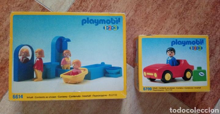 LOTE PLAYMOBIL 1,2,3 - 6614 (CUARTO DE BAÑO) Y 6700 (COCHE DEPORTIVO ROJO) - 1990 - NUEVO SIN ABRIR (Juguetes - Playmobil)
