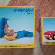 Playmobil: LOTE PLAYMOBIL 1,2,3 - 6614 (CUARTO DE BAÑO) Y 6700 (COCHE DEPORTIVO ROJO) - 1990 - NUEVO SIN ABRIR. Lote 121537016