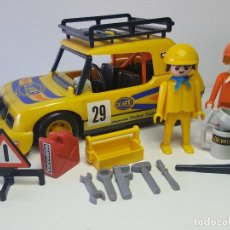Playmobil: ANTIGUO COCHE RALLY PLAYMOBIL 3524 CARRERA COMPETICION PILOTO MECANICO DAKAR. Lote 128159419