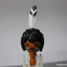 Playmobil: PLAYMOBIL CABEZA INDIO CON CARA PINTADA Y PLUMA JEFE RECAMBIO OESTE . Lote 128708667