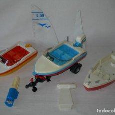 Playmobil: LOTE DE ANTIGUOS BARCOS / BARCAS / EMBARCACIONES, PIEZAS Y ACCESORIOS DE PLAYMOBIL. Lote 131639218
