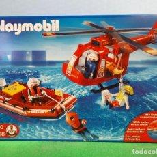 Playmobil: PLAYMOBIL- REF 4428.-HELICOPTERO DE RESCATE BOMBEROS, LANCHA NUEVO,PRECINTADO AÑO 2004. Lote 257379785
