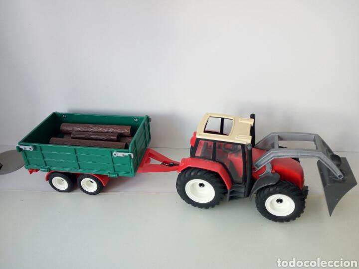 PLAYMOBIL. TRACTOR CON REMOLQUE PARA TRONCOS DE ARBOLES (Juguetes - Playmobil)