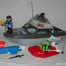 Playmobil: BARCO / LANCHA PATRULLERA DE POLICÍA DE PLAYMOBIL REFERENCIA 4429 - MUY COMPLETO -. Lote 136319510