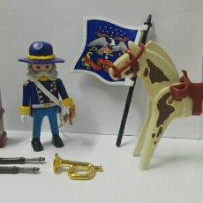Playmobil: PLAYMOBIL OFICIAL CABALLERÍA CABALLO NORDISTA SUDISTA UNIÓN BANDERA USS ARMERO OESTE SOMBRERO. Lote 136388109