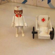Playmobil: ANTIGUO PLAYMOBIL ENFERMERA CON SILLA DE RUEDAS. Lote 142523914