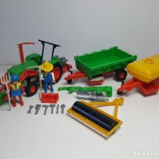 Playmobil: TRACTOR GRANJERO GRANJA PLAYMOBIL ANTIGUO REMOLQUE SEGADORA MAQUINA AGRICOLA. Lote 143648550