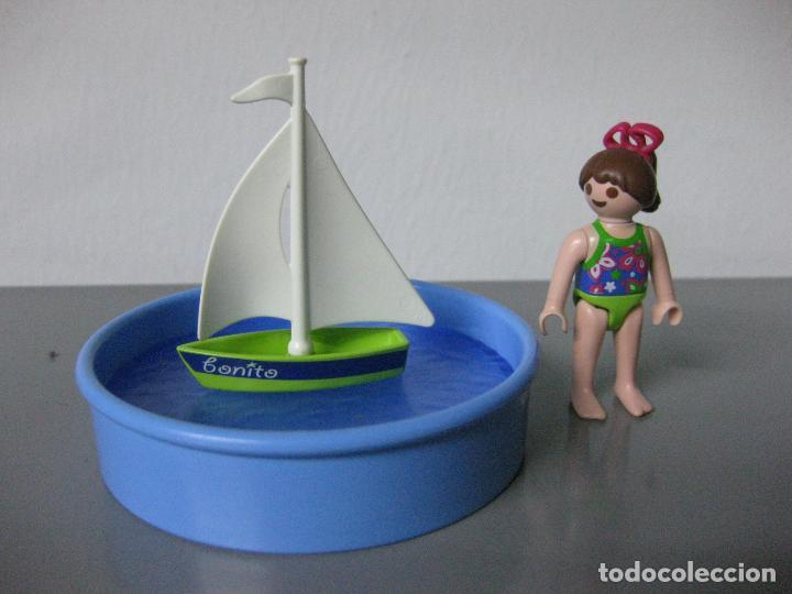 playmobil piscina con niña y barco juguete barq comprar playmobil