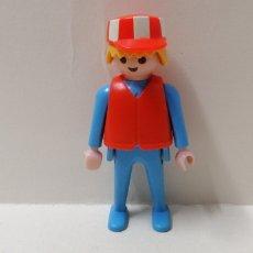 Playmobil: PLAYMOBIL, FIGURA HOMBRE CIUDAD TRABAJADOR GORRO OBRA CHALECO PRIMERA ÉPOCA SEÑALIZACIÓN. Lote 156658464