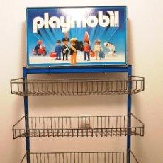 Playmobil: ESTANTERÍA EXPOSITOR PLAYMOBIL ORIGINAL 6 ESTANTES METALICOS CON RUEDAS. AÑOS 80. MUY BUEN ESTADO. Lote 158849818