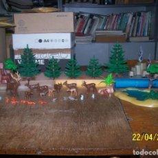 Playmobil: LOTE PLAYMOBIL BOSQUE, ARBOLES, CIERVO, CONEJO, LAGO, ARDILLA. LEER DESCRIPCIÓN. Lote 160891470