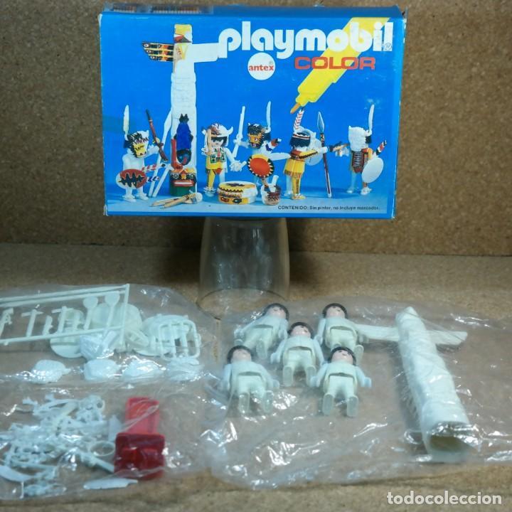 PLAYMOBIL COLOR REF. 3620 COMPLETO CON CAJA , SIN COLOREAR , GUERREROS INDIOS CON TOTEM (Juguetes - Playmobil)