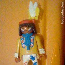 Playmobil: PLAYMOBIL HISTORIA OESTE INDIO PLUMAS COLLAR PINTURA CARA FIGURA JUGADA. Lote 162932470