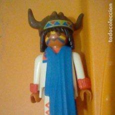 Playmobil: PLAYMOBIL HISTORIA OESTE INDIO CAPA GORRO BISONTE PINTURA CARA TRAJE BLANCO FIGURA JUGADA. Lote 162932974