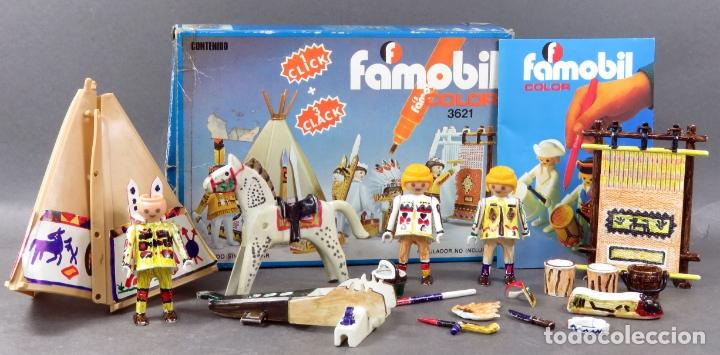CAJA INDIOS CON TIENDA CLICK FAMOBIL SYSTEM COLOR REF 3621 BASTANTE COMPLETO COMPLEMENTOS AÑOS 70 (Juguetes - Playmobil)