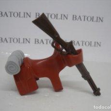 Playmobil: PLAYMOBIL SILLA DE MONTAR CON MANTA Y RIFLE CABALLOS ANIMALES OESTE. Lote 207293026